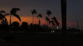 Solnedgång på Panama City Arkivbild