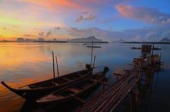 Solnedgång på Phang Nga Fotografering för Bildbyråer