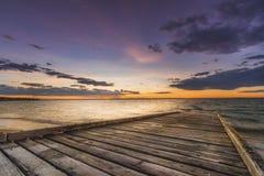 Solnedgång på Phillip Island Arkivfoto