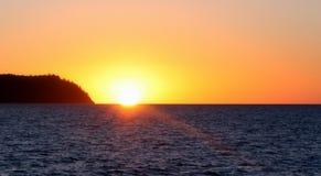 Solnedgång på pingstdagöar Queensland Australien Royaltyfria Foton