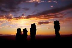 Solnedgång på platån Manpupuner Royaltyfria Bilder