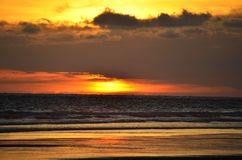 Solnedgång på Playa El Espino Royaltyfria Foton
