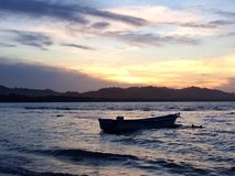 Solnedgång på Playa Negra Royaltyfria Foton