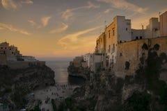 Solnedgång på Polignano 01 Arkivbild