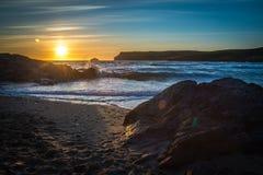 Solnedgång på Polzeath Royaltyfria Bilder
