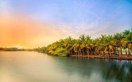 Solnedgång på Pondicherry Royaltyfri Fotografi