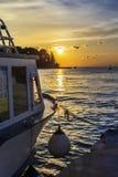 Solnedgång på porten av Rovinj Arkivfoton
