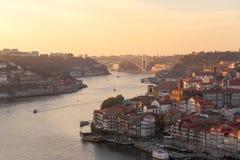 Solnedgång på Porto Royaltyfria Bilder