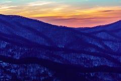 Solnedgång på Roan Mountain Arkivbild