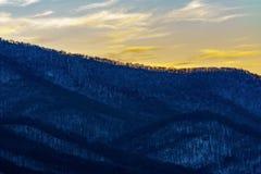 Solnedgång på Roan Mountain Arkivfoton