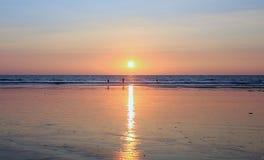 Solnedgång på sandstranden i Indien Royaltyfria Bilder