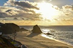 Solnedgång på Santa Cruz - Portugal royaltyfria foton