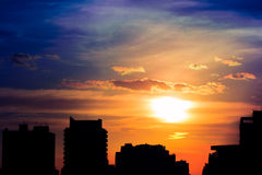 Solnedgång på Sao Paulo, Brasilien Arkivbild