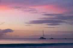 Solnedgång på Seychellerna Fotografering för Bildbyråer