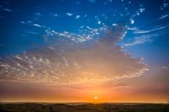 Solnedgång på Sharjah Royaltyfria Bilder