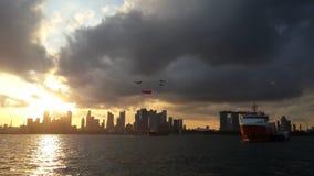 Solnedgång på Singapore Arkivbild