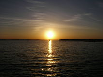 Solnedgång på sjön Champlain Arkivfoto