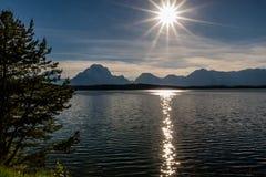 Solnedgång på sjön Jackson Wyoming Arkivfoton