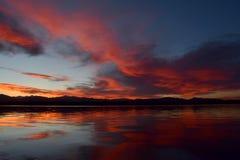 Solnedgång på sjön Loveland Arkivbild