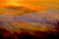 Solnedgång på sjön Skannati Arkivfoton