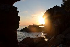 Solnedgång på Skiathos Royaltyfri Fotografi