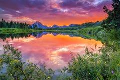 Solnedgång på Snaket River Royaltyfri Foto