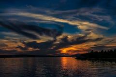 Solnedgång på sommar Arkivbilder