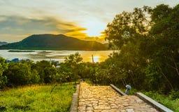 Solnedgång på Songkhla Royaltyfri Foto
