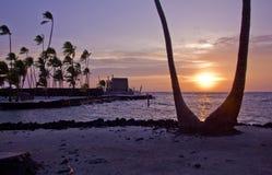 Solnedgång på stället av fristaden Arkivbilder