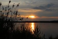 Solnedgång på Steinberger sjön Arkivfoton