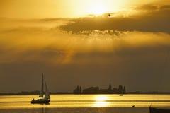 Solnedgång på Steinhuder am Meer Fotografering för Bildbyråer