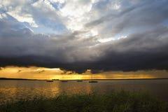 Solnedgång på Steinhuder am Meer Royaltyfri Fotografi