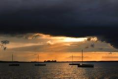 Solnedgång på Steinhuder am Meer Arkivfoto