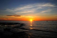 Solnedgång på Stilla havet Arkivfoton