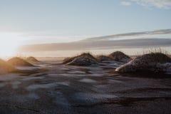 Solnedgång på Stokksnes, Island Arkivbild