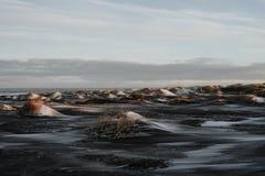 Solnedgång på Stokksnes, Island Arkivfoton