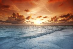 Solnedgång på strand Royaltyfria Foton