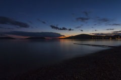 Solnedgång på strand Royaltyfri Fotografi