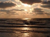 Solnedgång på stranden Royaltyfri Foto