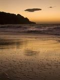 Solnedgång på stranden Royaltyfria Foton