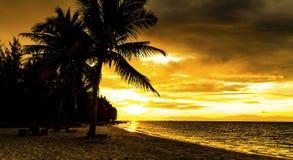 Solnedgång på stranden av det karibiska havet Arkivfoton