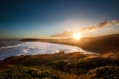 Solnedgång på stranden för St Clair Fotografering för Bildbyråer