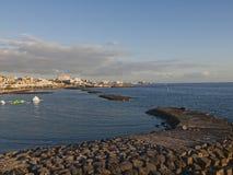 Solnedgång på stranden i Tenerife Spanien royaltyfria foton