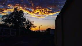 Solnedgång på strandingången fotografering för bildbyråer