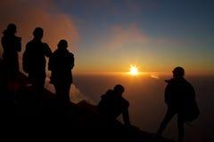 Solnedgång på Stromboli Royaltyfria Foton