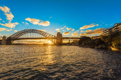 Solnedgång på Sydney Harbour Bridge Sydney Australia Royaltyfria Bilder