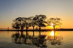 Solnedgång på Teakwoodbron för U Bein, Amarapura i Myanmar (Burmar Arkivfoton