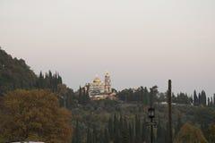 Solnedgång på tempelet Arkivbild