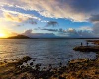 Solnedgång på Thingvallavatn sjön Royaltyfri Fotografi