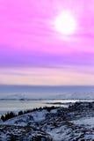 Solnedgång på Thingvellir, Island Royaltyfria Bilder